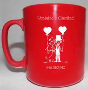 Canecas de café Weslaine e Claudinei