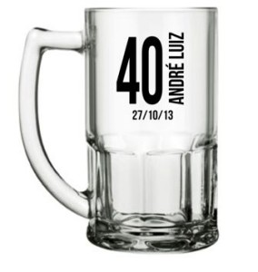 Canecas de Vidro bristol 340 ml para aniversario